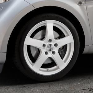 DEZENT RE Silver Felge mit Reifen silber in 16Zoll Winterfelge Alufelge auf silbernem Smart Fortwo Coupe III (14-) (453) Cabrio (16-) ⬇️ mit 15mm Tieferlegung ⬇️ Industriehalle 1 Thumbnail