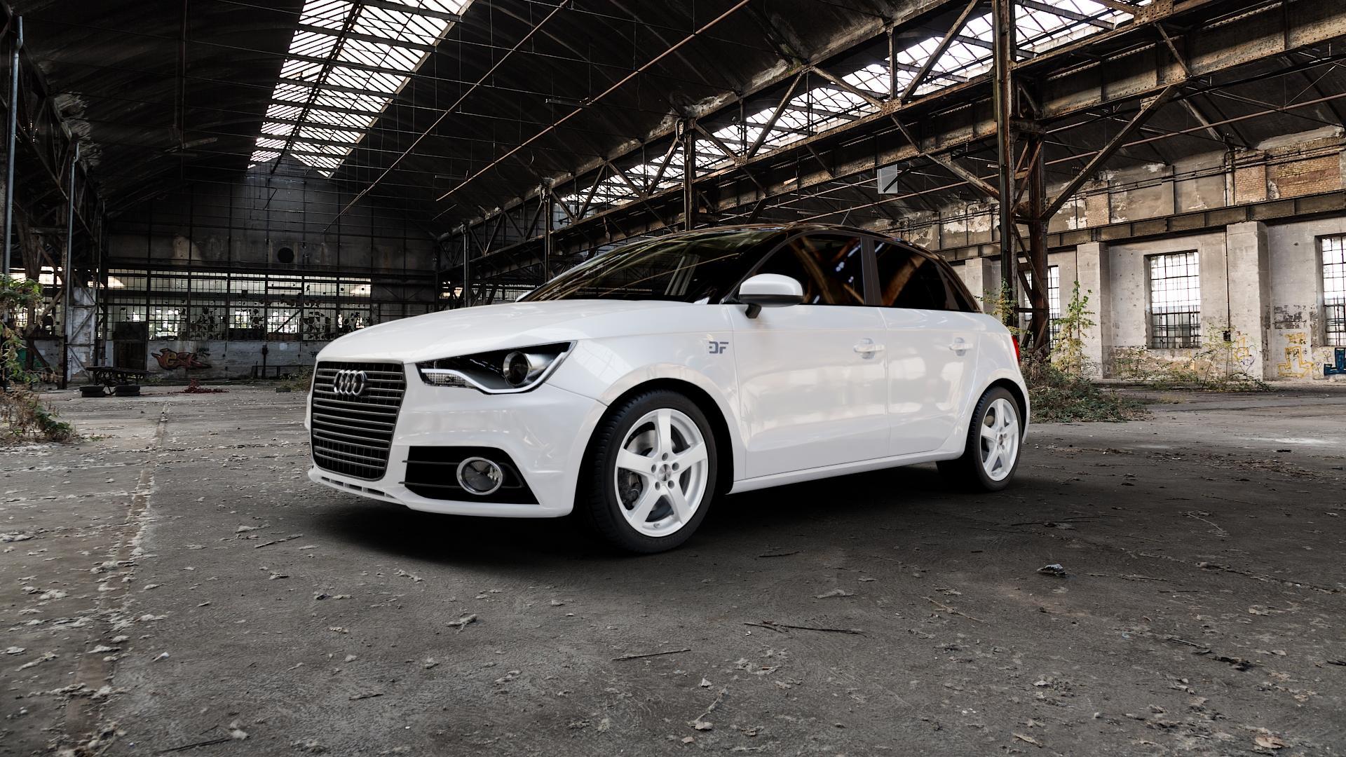 DEZENT RE SILVER Felge mit Reifen silber in 16Zoll Winterfelge Alufelge auf weissem Audi A1 Typ 8X (Sportback) ⬇️ mit 15mm Tieferlegung ⬇️ Industriehalle 1 Camera_000