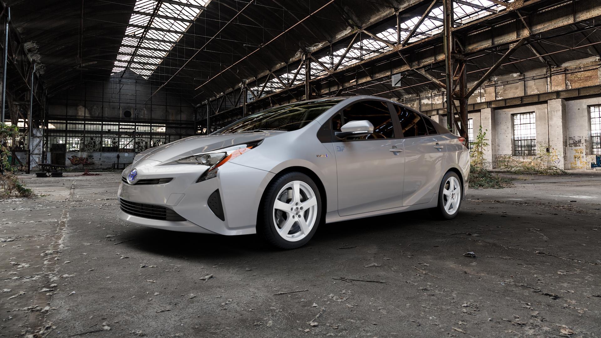 DEZENT RE SILVER Felge mit Reifen silber in 17Zoll Winterfelge Alufelge auf silbernem Toyota Prius IV Typ XW5 ⬇️ mit 15mm Tieferlegung ⬇️ Industriehalle 1 Camera_000