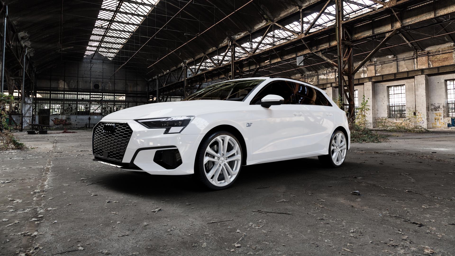 DEZENT TA SILVER Felge mit Reifen silber in 19Zoll Winterfelge Alufelge auf weissem Audi A3 Typ GY (Sportback) ⬇️ mit 15mm Tieferlegung ⬇️ Industriehalle 1 Camera_000