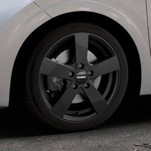 DEZENT TD Black matt Felge mit Reifen schwarz in 16Zoll Winterfelge Alufelge auf silbernem Kia Picanto III Typ JA ⬇️ mit 15mm Tieferlegung ⬇️ Industriehalle 1 Thumbnail