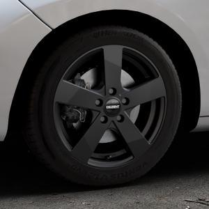 DEZENT TD Black matt Felge mit Reifen schwarz in 16Zoll Winterfelge Alufelge auf silbernem Peugeot 207 SW ⬇️ mit 15mm Tieferlegung ⬇️ Industriehalle 1 Thumbnail