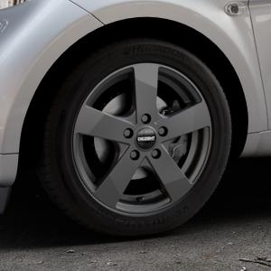 DEZENT TD Graphite matt Felge mit Reifen grau in 15Zoll Winterfelge Alufelge auf silbernem Smart Fortwo Coupe III (14-) (453) Cabrio (16-) ⬇️ mit 15mm Tieferlegung ⬇️ Industriehalle 1 Thumbnail