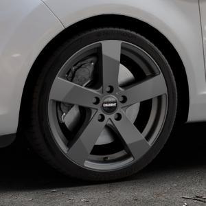 DEZENT TD Graphite matt Felge mit Reifen grau in 17Zoll Winterfelge Alufelge auf silbernem Ford Fiesta VI Typ JA8 Facelift ⬇️ mit 15mm Tieferlegung ⬇️ Industriehalle 1 Thumbnail