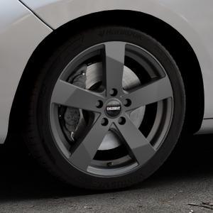 DEZENT TD Graphite matt Felge mit Reifen grau in 17Zoll Winterfelge Alufelge auf silbernem Peugeot 207 SW ⬇️ mit 15mm Tieferlegung ⬇️ Industriehalle 1 Thumbnail