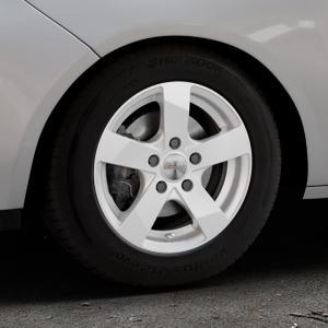 DEZENT TD Silver Felge mit Reifen silber in 14Zoll Winterfelge Alufelge auf silbernem Opel Adam ⬇️ mit 15mm Tieferlegung ⬇️ Industriehalle 1 Thumbnail