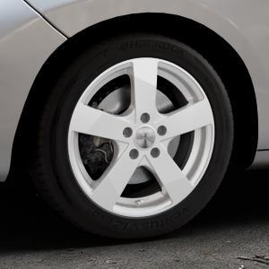 DEZENT TD Silver Felge mit Reifen silber in 16Zoll Winterfelge Alufelge auf silbernem Peugeot 207 CC ⬇️ mit 15mm Tieferlegung ⬇️ Industriehalle 1 Thumbnail