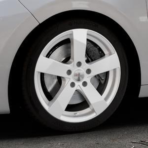 DEZENT TD Silver Felge mit Reifen silber in 17Zoll Winterfelge Alufelge auf silbernem Peugeot 208 Typ C ⬇️ mit 15mm Tieferlegung ⬇️ Industriehalle 1 Thumbnail