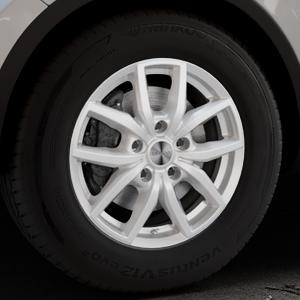 DEZENT TE SILVER Felge mit Reifen silber in 17Zoll Winterfelge Alufelge auf silbernem Volkswagen (VW) Touareg II Typ 7P Facelift ⬇️ mit 15mm Tieferlegung ⬇️ Industriehalle 1 Thumbnail