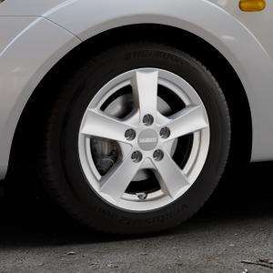 DEZENT TX Graphite matt Felge mit Reifen grau in 14Zoll Winterfelge Alufelge auf silbernem Ford Fiesta V Typ JH1/JD3 ⬇️ mit 15mm Tieferlegung ⬇️ Industriehalle 1 Thumbnail