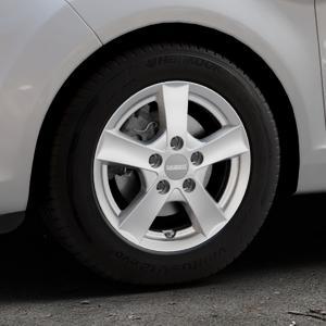 DEZENT TX Graphite matt Felge mit Reifen grau in 14Zoll Winterfelge Alufelge auf silbernem Ford Fiesta VI Typ JA8 Facelift ⬇️ mit 15mm Tieferlegung ⬇️ Industriehalle 1 Thumbnail
