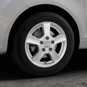 DEZENT TX Graphite matt Felge mit Reifen grau in 14Zoll Winterfelge Alufelge auf silbernem Ford Fiesta VI Typ JA8 ⬇️ mit 15mm Tieferlegung ⬇️ Industriehalle 1 Thumbnail