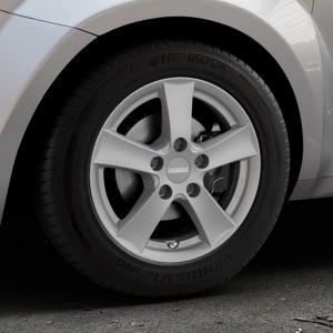 DEZENT TX Graphite matt Felge mit Reifen grau in 15Zoll Winterfelge Alufelge auf silbernem Alfa Romeo Mito Typ 955 ⬇️ mit 15mm Tieferlegung ⬇️ Industriehalle 1 Thumbnail