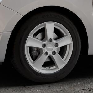 DEZENT TX Graphite matt Felge mit Reifen grau in 15Zoll Winterfelge Alufelge auf silbernem Dacia Logan II Typ SD ⬇️ mit 15mm Tieferlegung ⬇️ Industriehalle 1 Thumbnail