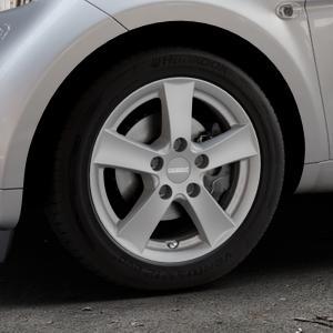 DEZENT TX Graphite matt Felge mit Reifen grau in 15Zoll Winterfelge Alufelge auf silbernem Smart Fortwo Coupe III (14-) (453) Cabrio (16-) ⬇️ mit 15mm Tieferlegung ⬇️ Industriehalle 1 Thumbnail