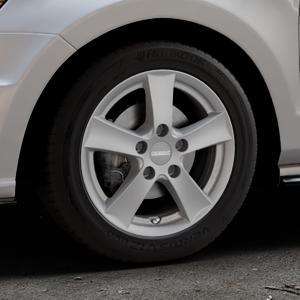 DEZENT TX GRAPHITE MATT Felge mit Reifen grau in 15Zoll Winterfelge Alufelge auf silbernem Volkswagen (VW) Polo V Typ 6R 1,4l TSI GTI 132kW (179 PS) ⬇️ mit 15mm Tieferlegung ⬇️ Industriehalle 1 Thumbnail
