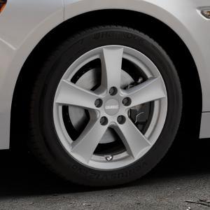 DEZENT TX Graphite matt Felge mit Reifen grau in 16Zoll Winterfelge Alufelge auf silbernem Fiat 124 Spider Typ NF ⬇️ mit 15mm Tieferlegung ⬇️ Industriehalle 1 Thumbnail