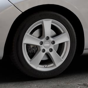 DEZENT TX Graphite matt Felge mit Reifen grau in 16Zoll Winterfelge Alufelge auf silbernem Peugeot 207 CC ⬇️ mit 15mm Tieferlegung ⬇️ Industriehalle 1 Thumbnail