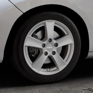 DEZENT TX Graphite matt Felge mit Reifen grau in 16Zoll Winterfelge Alufelge auf silbernem Peugeot 207 SW ⬇️ mit 15mm Tieferlegung ⬇️ Industriehalle 1 Thumbnail