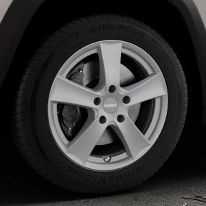 DEZENT TX Graphite matt Felge mit Reifen grau in 17Zoll Winterfelge Alufelge auf silbernem Jeep Cherokee Typ KL Trailhawk ⬇️ mit 15mm Tieferlegung ⬇️ Industriehalle 1 Thumbnail