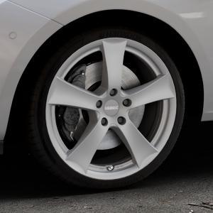 DEZENT TX Graphite matt Felge mit Reifen grau in 18Zoll Winterfelge Alufelge auf silbernem Opel Corsa E Typ S-D ⬇️ mit 15mm Tieferlegung ⬇️ Industriehalle 1 Thumbnail
