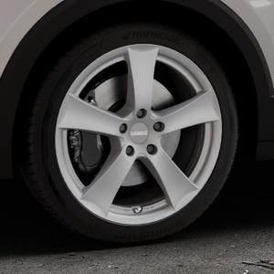 DEZENT TX GRAPHITE MATT Felge mit Reifen grau in 18Zoll Winterfelge Alufelge auf silbernem Volkswagen (VW) T-Cross ⬇️ mit 15mm Tieferlegung ⬇️ Industriehalle 1 Thumbnail