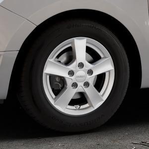 DEZENT TX Silver Felge mit Reifen silber in 14Zoll Winterfelge Alufelge auf silbernem Dacia Logan II Typ SD ⬇️ mit 15mm Tieferlegung ⬇️ Industriehalle 1 Thumbnail