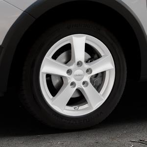 DEZENT TX Silver Felge mit Reifen silber in 15Zoll Winterfelge Alufelge auf silbernem Dacia Sandero Stepway II Typ SD ⬇️ mit 15mm Tieferlegung ⬇️ Industriehalle 1 Thumbnail