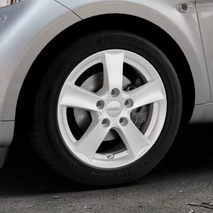 DEZENT TX Silver Felge mit Reifen silber in 15Zoll Winterfelge Alufelge auf silbernem Smart Fortwo Coupe III (14-) (453) Cabrio (16-) ⬇️ mit 15mm Tieferlegung ⬇️ Industriehalle 1 Thumbnail