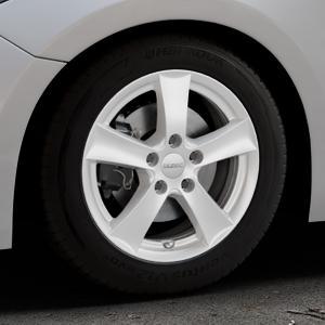 DEZENT TX Silver Felge mit Reifen silber in 16Zoll Winterfelge Alufelge auf silbernem Mazda 3 (13-) Stufenheck (BM) Sport (17-) Facelift Fließheck ⬇️ mit 15mm Tieferlegung ⬇️ Industriehalle 1 Thumbnail