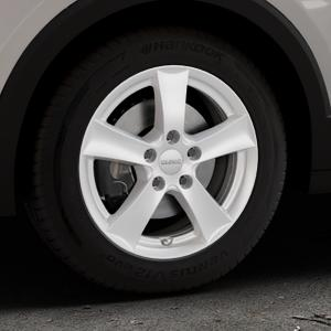 DEZENT TX SILVER Felge mit Reifen silber in 16Zoll Winterfelge Alufelge auf silbernem Volkswagen (VW) T-Cross ⬇️ mit 15mm Tieferlegung ⬇️ Industriehalle 1 Thumbnail