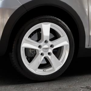 DEZENT TX SILVER Felge mit Reifen silber in 16Zoll Winterfelge Alufelge auf silbernem Volkswagen (VW) UP Cross ⬇️ mit 15mm Tieferlegung ⬇️ Industriehalle 1 Thumbnail