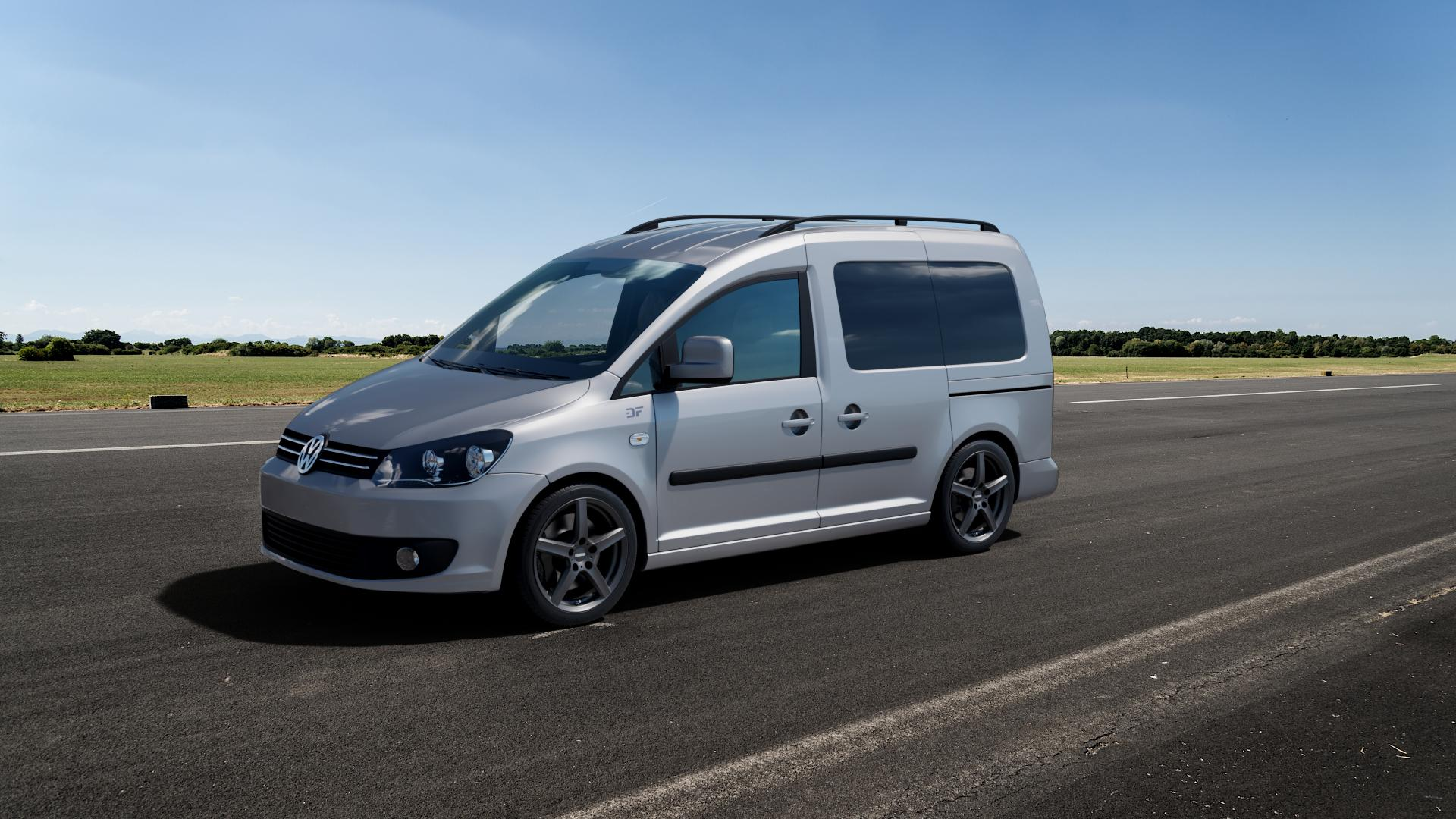 DEZENT TY GRAPHITE MATT Felge mit Reifen grau in 17Zoll Winterfelge Alufelge auf silbernem Volkswagen (VW) Caddy 3 ⬇️ mit 15mm Tieferlegung ⬇️ Big_Vehicle_Airstrip_1 Frontansicht_1