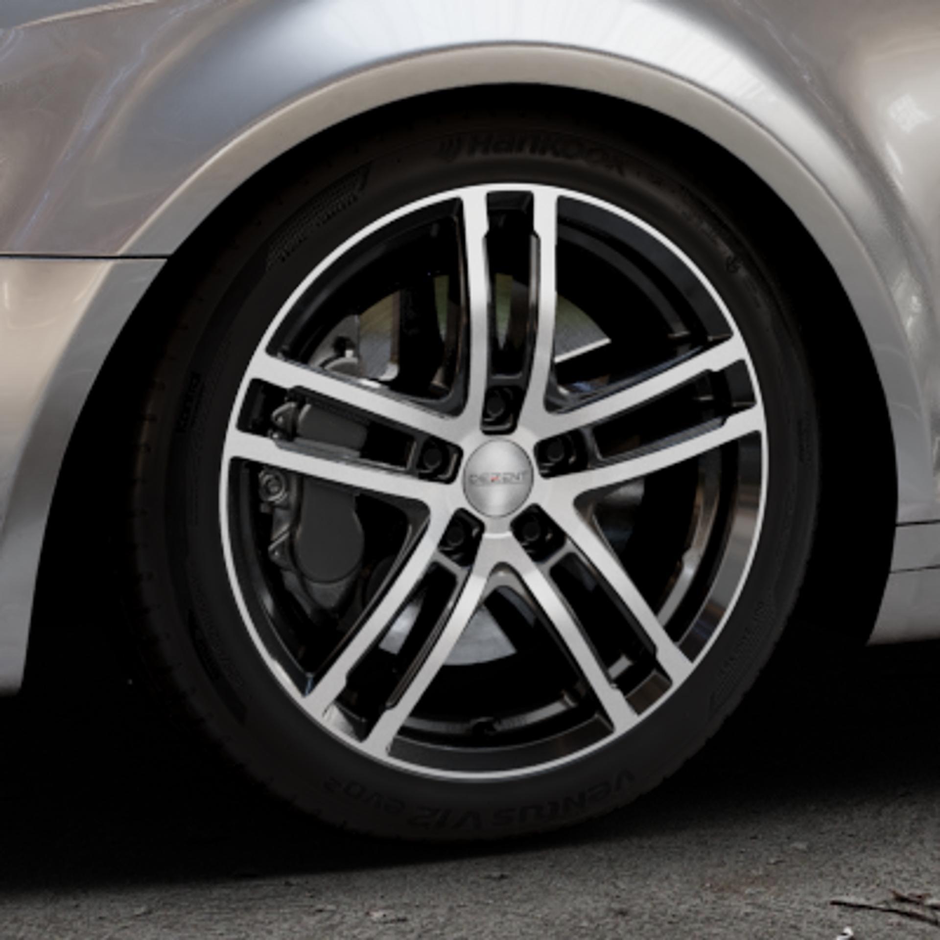 DEZENT TZ BLACK/POLISHED FRONT Felge mit Reifen silber schwarz mehrfarbig in 17Zoll Alufelge auf silbernem Audi A3 Typ 8P (Sportback) 1,6l 75kW (102 PS) 2,0l FSI 110kW (150 1,9l TDI 77kW (105 103kW (140 TFSI 147kW (200 85kW (116 100kW (136 1,8l 118kW (160 125kW (170 1,4l 92kW (125 120kW (163 quattro 3,2l V6 184kW (250 S3 195kW (265 1,2l 66kW (90