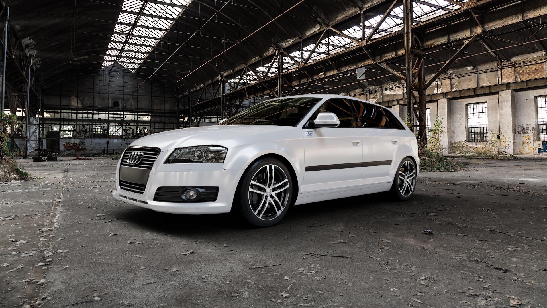 DEZENT TZ BLACK/POLISHED FRONT Felge mit Reifen silber schwarz mehrfarbig in 17Zoll Alufelge auf weissem Audi A3 Typ 8P (Sportback) 1,6l 75kW (102 PS) 2,0l FSI 110kW (150 1,9l TDI 77kW (105 103kW (140 TFSI 147kW (200 85kW (116 100kW (136 1,8l 118kW (160 125kW (170 1,4l 92kW (125 120kW (163 quattro 3,2l V6 184kW (250 S3 195kW (265 1,2l 66kW (90 18