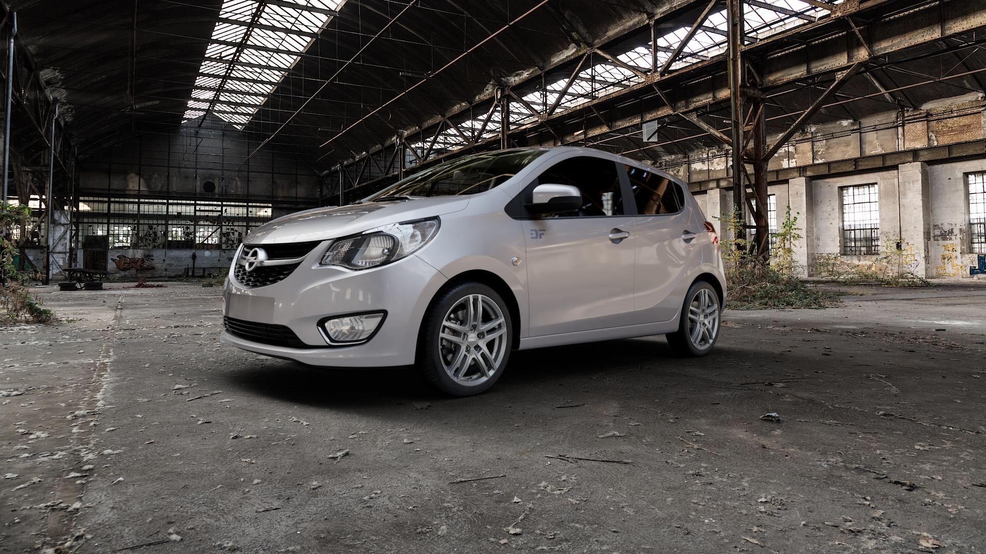 DEZENT TZ Graphite matt Felge mit Reifen grau in 16Zoll Winterfelge Alufelge auf silbernem Opel Karl Typ D-A ⬇️ mit 15mm Tieferlegung ⬇️ Industriehalle 1 Camera_000