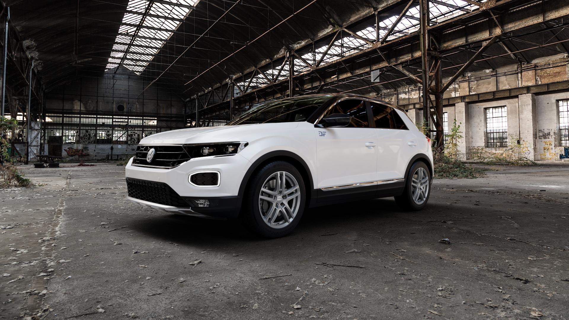 DEZENT TZ GRAPHITE MATT Felge mit Reifen grau in 17Zoll Winterfelge Alufelge auf weissem Volkswagen (VW) T-Roc ⬇️ mit 15mm Tieferlegung ⬇️ Industriehalle 1 Camera_000