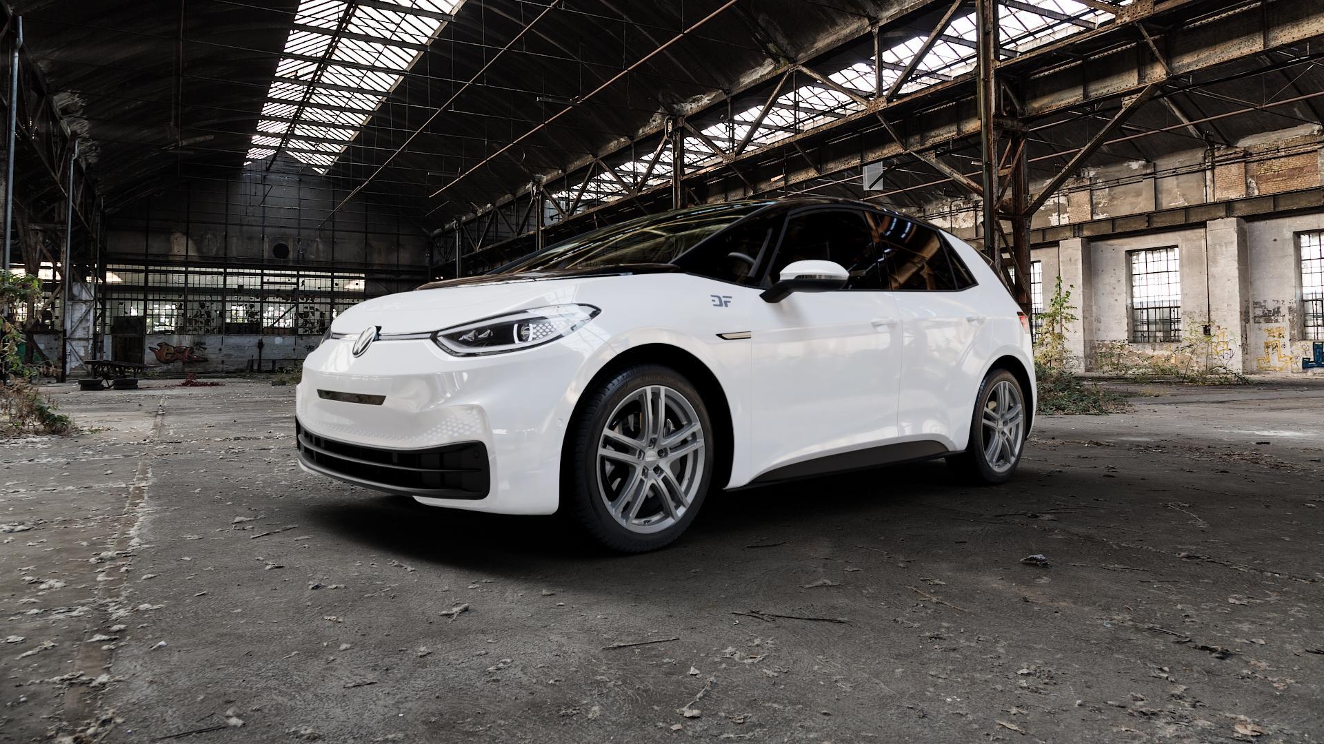 DEZENT TZ GRAPHITE MATT Felge mit Reifen grau in 19Zoll Winterfelge Alufelge auf weissem Volkswagen (VW) ID.3 ⬇️ mit 15mm Tieferlegung ⬇️ Industriehalle 1 Camera_000