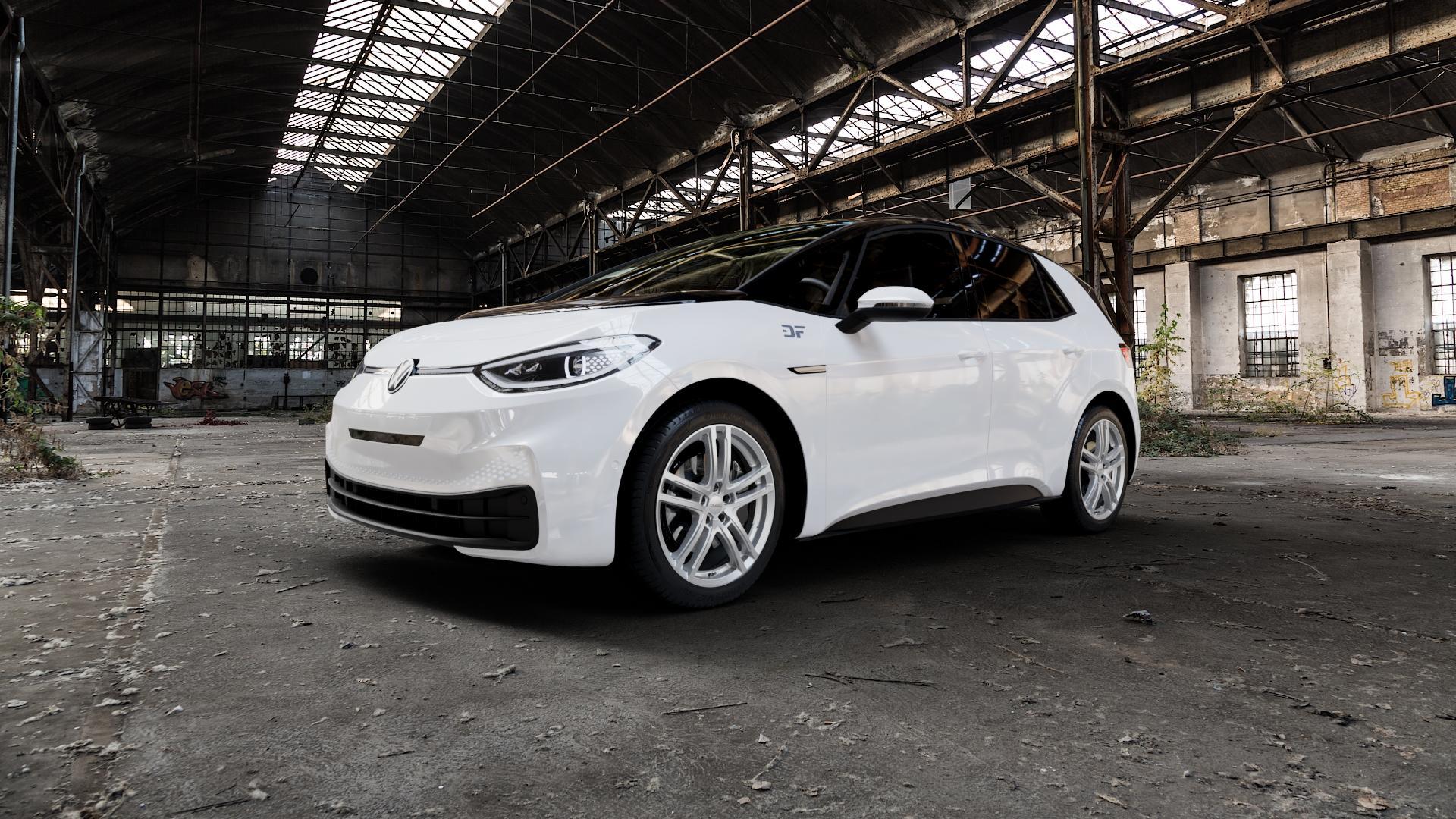 DEZENT TZ SILVER Felge mit Reifen silber in 19Zoll Winterfelge Alufelge auf weissem Volkswagen (VW) ID.3 ⬇️ mit 15mm Tieferlegung ⬇️ Industriehalle 1 Camera_000