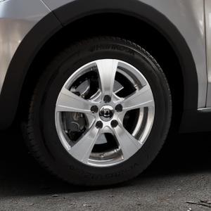 DIEWE WHEELS Matto pigmentsilber Felge mit Reifen in 14Zoll Winterfelge Alufelge auf silbernem Volkswagen (VW) UP Cross ⬇️ mit 15mm Tieferlegung ⬇️ Industriehalle 1 Thumbnail
