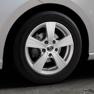 DIEWE WHEELS Matto Pigmentsilber Felge mit Reifen in 15Zoll Winterfelge Alufelge auf silbernem Seat Ibiza V Typ KJ ⬇️ mit 15mm Tieferlegung ⬇️ Industriehalle 1 Thumbnail