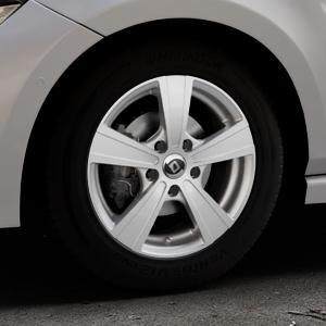 DIEWE WHEELS Matto Pigmentsilber Felge mit Reifen in 15Zoll Winterfelge Alufelge auf silbernem Volkswagen (VW) Polo VI Typ AW ⬇️ mit 15mm Tieferlegung ⬇️ Industriehalle 1 Thumbnail