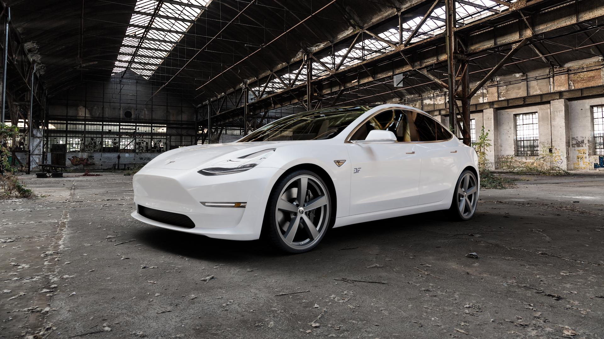 DIEWE WHEELS Trina Platin Felge mit Reifen grau in 21Zoll Winterfelge Alufelge auf weissem Tesla Model 3 Typ 003 ⬇️ mit 15mm Tieferlegung ⬇️ Industriehalle 1 Camera_000