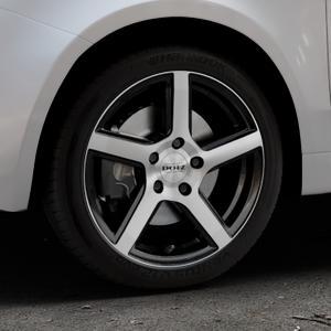 DOTZ CP5 Black/polished front Felge mit Reifen schwarz in 16Zoll Winterfelge Alufelge auf silbernem Fiat 500 Typ 312 Cabrio Facelift ⬇️ mit 15mm Tieferlegung ⬇️ Industriehalle 1 Thumbnail
