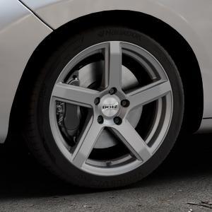 DOTZ CP5 Graphite matt Felge mit Reifen grau in 17Zoll Winterfelge Alufelge auf silbernem Peugeot 207 CC ⬇️ mit 15mm Tieferlegung ⬇️ Industriehalle 1 Thumbnail