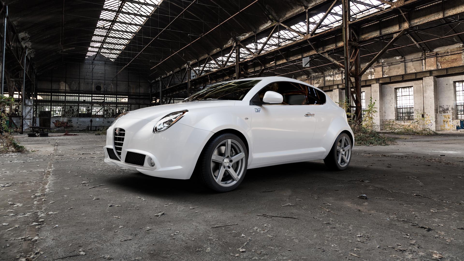 DOTZ CP5 Graphite matt Felge mit Reifen grau in 17Zoll Winterfelge Alufelge auf weissem Alfa Romeo Mito Typ 955 ⬇️ mit 15mm Tieferlegung ⬇️ Industriehalle 1 Camera_000