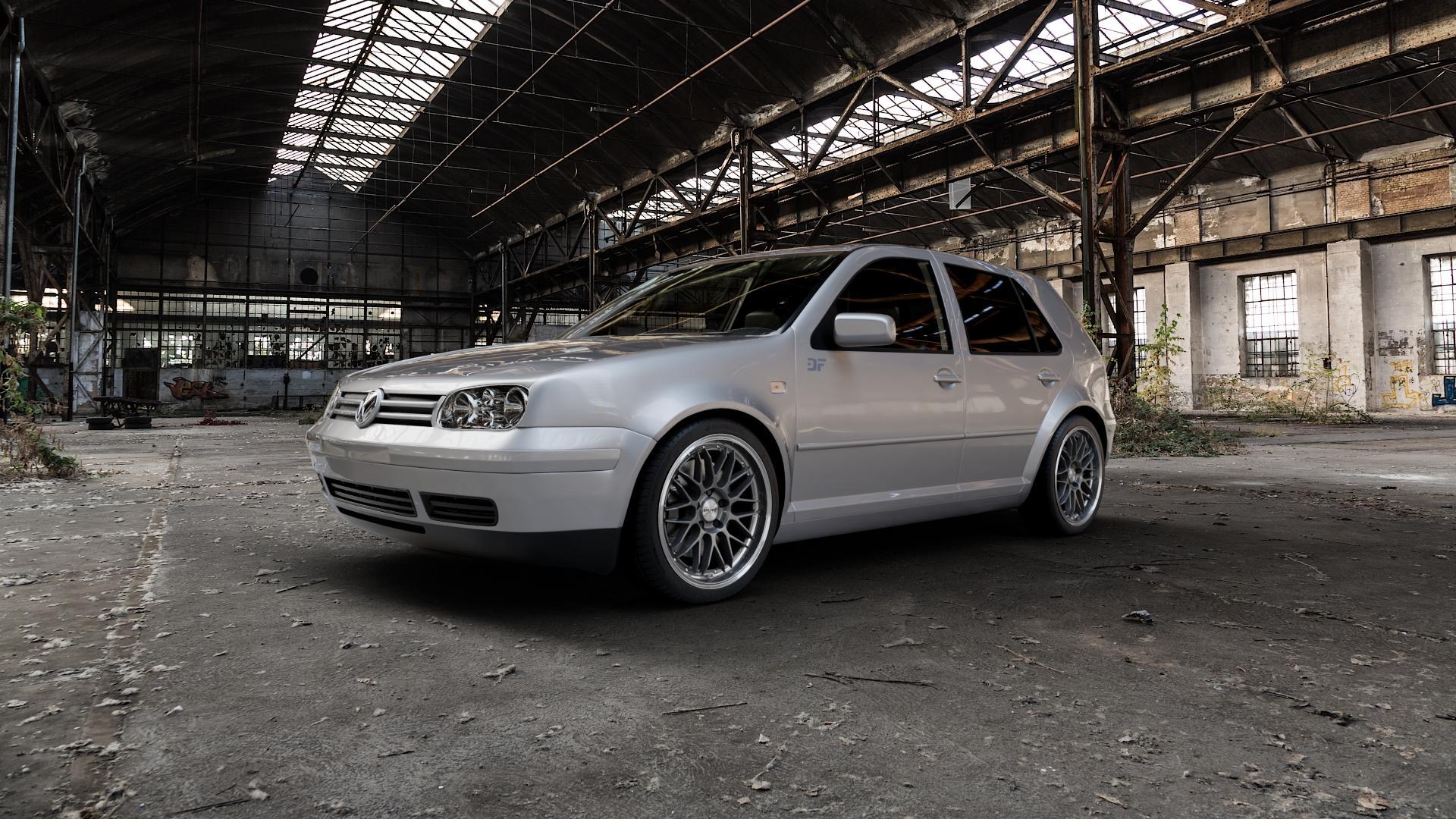 DOTZ REVVO GUNMETAL POLISHED Felge mit Reifen grau silber mehrfarbig in 18Zoll Alufelge auf silbernem Volkswagen (VW) Golf 4 ⬇️ mit 15mm Tieferlegung ⬇️ Industriehalle 1 Camera_000