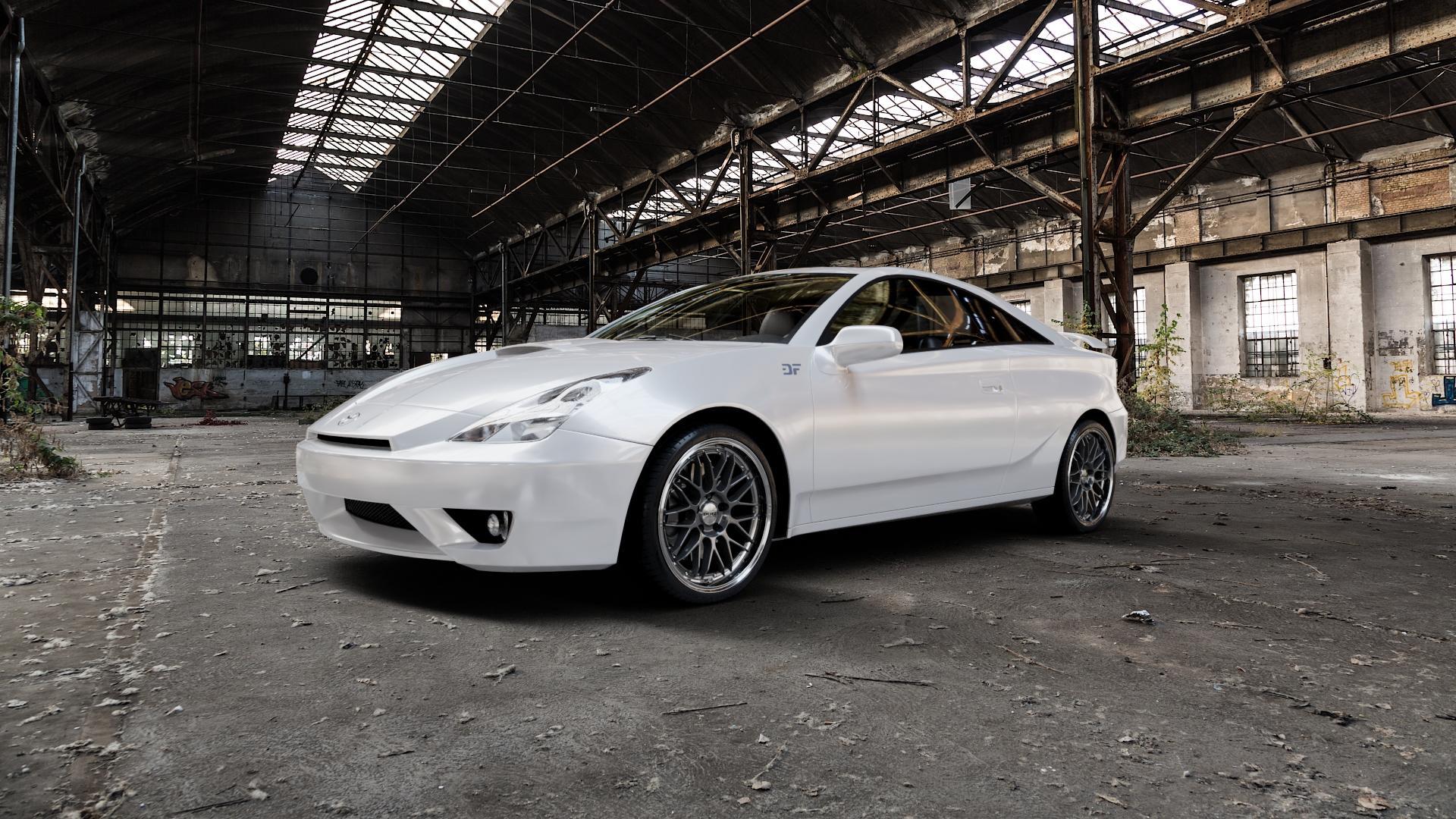 DOTZ REVVO GUNMETAL POLISHED Felge mit Reifen grau silber mehrfarbig in 18Zoll Alufelge auf weissem Toyota Celica Typ T23 ⬇️ mit 15mm Tieferlegung ⬇️ Industriehalle 1 Camera_000