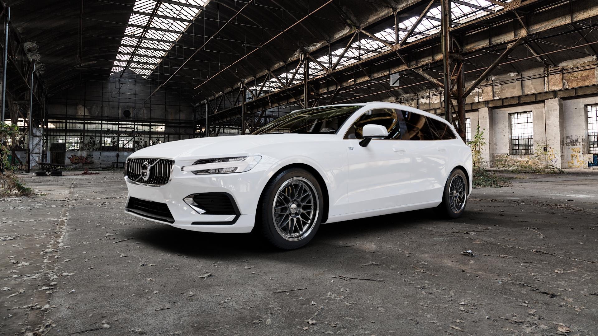 DOTZ REVVO GUNMETAL POLISHED Felge mit Reifen grau silber mehrfarbig in 18Zoll Alufelge auf weissem Volvo V60 Typ Z ⬇️ mit 15mm Tieferlegung ⬇️ Industriehalle 1 Camera_000