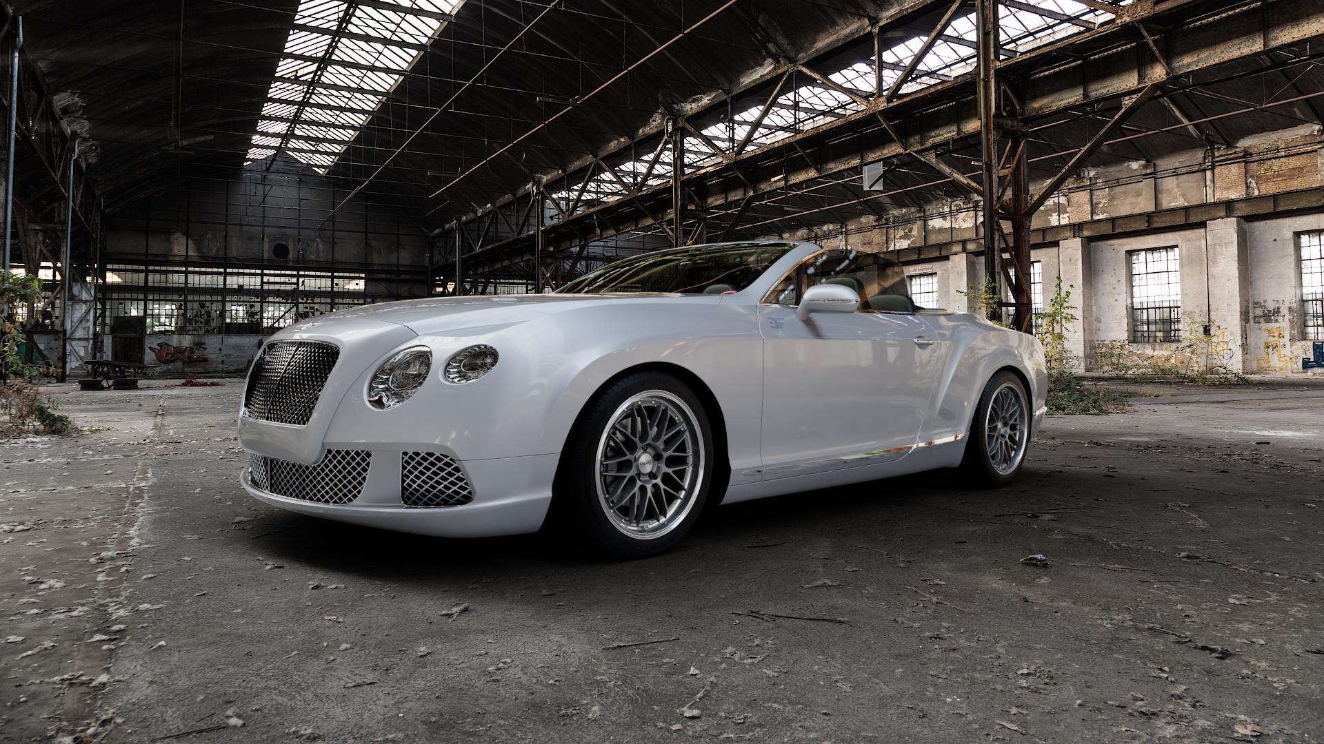 DOTZ REVVO GUNMETAL POLISHED Felge mit Reifen grau silber mehrfarbig in 19Zoll Alufelge auf silbernem Bentley Continental Flying Spur GT GTC ⬇️ mit 15mm Tieferlegung ⬇️ Industriehalle 1 Camera_000